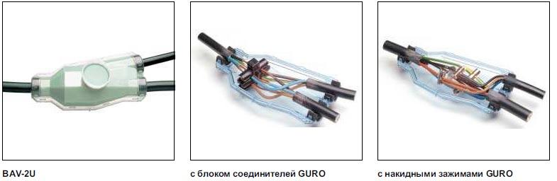 Ответвительные муфты Raychem с наполнителем Guroflex для кабелей с пластмассовой изоляцией сечением до 25 мм2